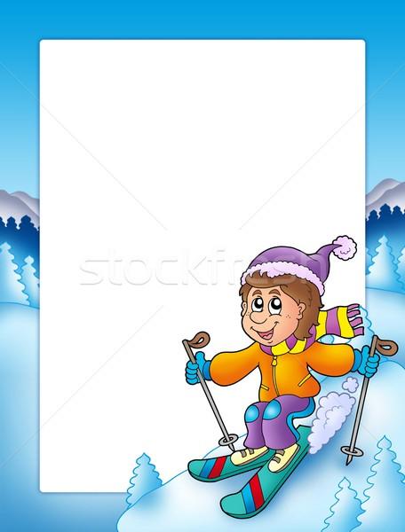 Frame with cartoon skiing boy stock photo © Klara Viskova