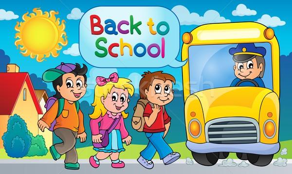 изображение школьный автобус тема девушки улыбка детей Сток-фото © clairev