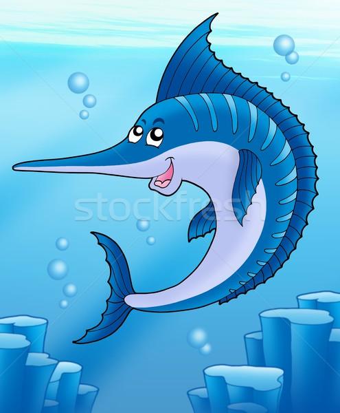 Zwemmen zee kleur illustratie gezicht gelukkig Stockfoto © clairev