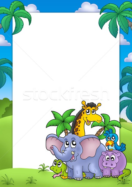 African frame with group of animals Stock photo © clairev