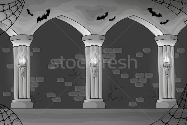 Feketefehér kisértetjárta belső művészet fekete építészet Stock fotó © clairev