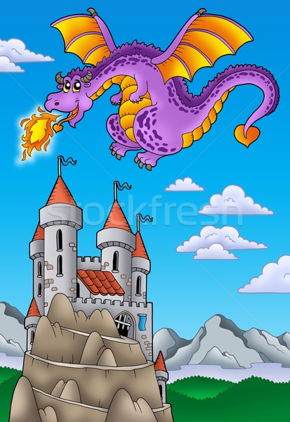 Flying dragon with castle on hill Stock photo © clairev