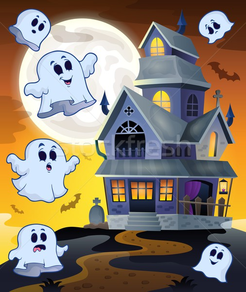 Ghosts flying around haunted house Stock photo © clairev