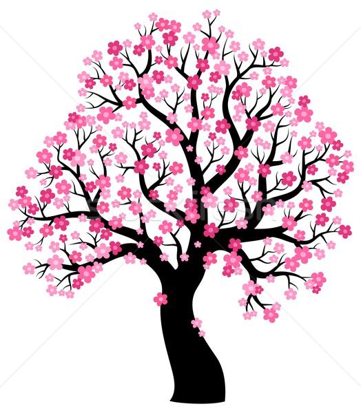 Сток-фото: силуэта · дерево · искусства · завода · обратить