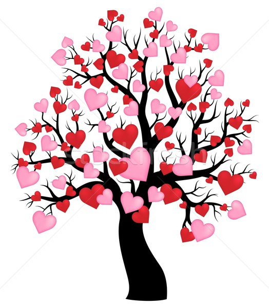 Silhouette of tree with hearts theme 1 Stock photo © clairev