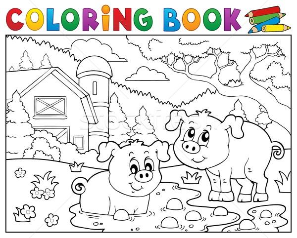 книжка-раскраска два свиней фермы книга здании Сток-фото © clairev