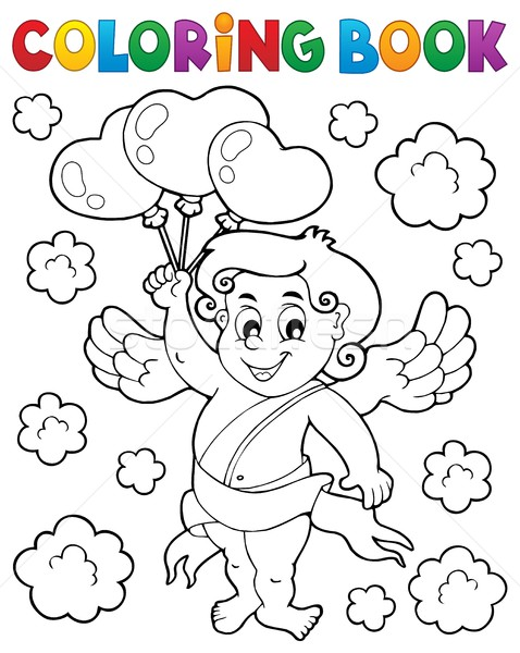 Coloring book with Cupid 6 Stock photo © clairev