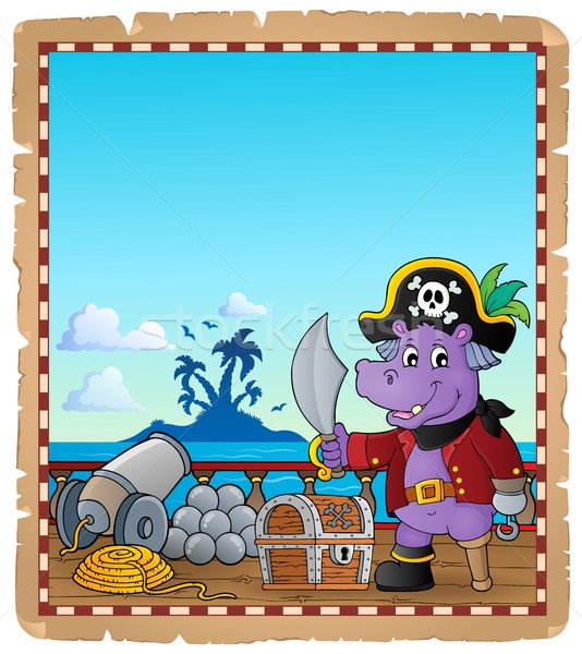 Pergamin pirackich hipopotam statku papieru morza Zdjęcia stock © clairev