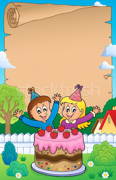 Parchment with cake and kids celebrating Stock photo © clairev