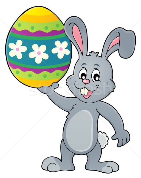 Bunny holding big Easter egg topic 1 Stock photo © clairev