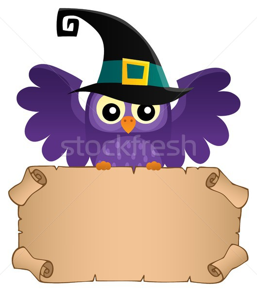 Halloween owl holding small parchment Stock photo © clairev