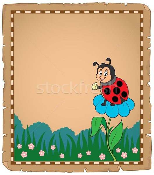 Parchment with ladybug on flower Stock photo © clairev