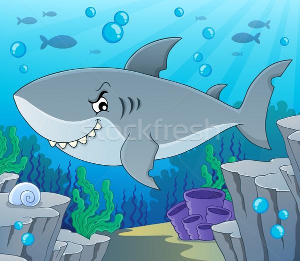 Cápa téma kép víz hal tenger Stock fotó © clairev