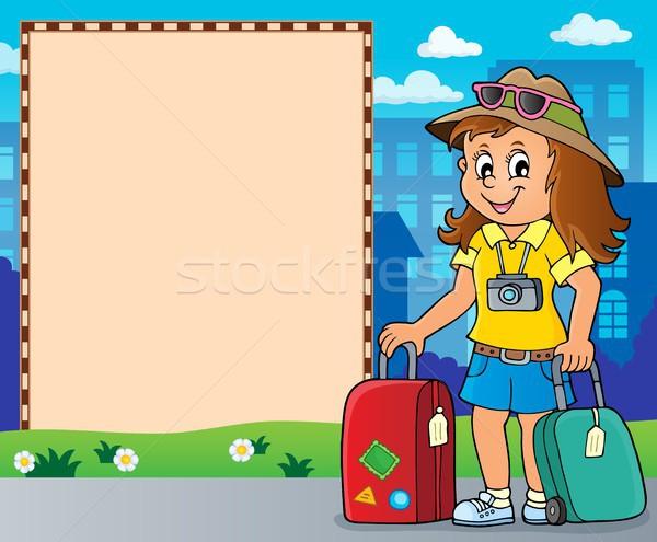 Tourist woman theme frame 2 Stock photo © clairev