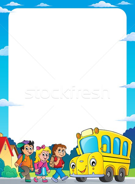 Children by school bus theme frame 1 Stock photo © clairev
