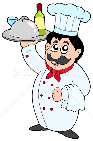 Cartoon chef holding meal and wine Stock photo © clairev