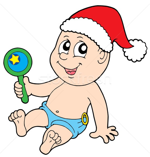 Christmas baby with rattle Stock photo © clairev