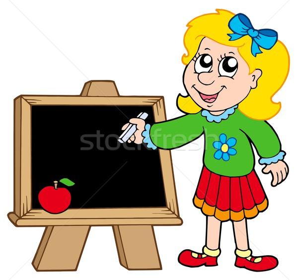 Uczennica piśmie tablicy dzieci szkoły dziecko Zdjęcia stock © clairev