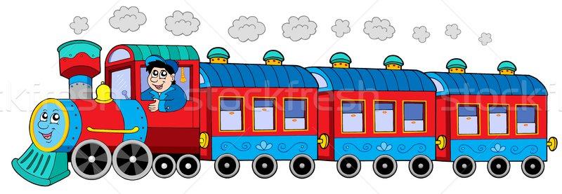 Stoomlocomotief motor bestuurder ontwerp wolk kleur Stockfoto © clairev