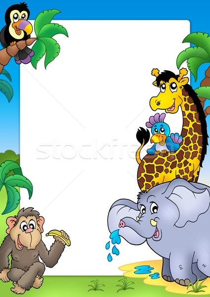 Frame with happy African animals Stock photo © clairev