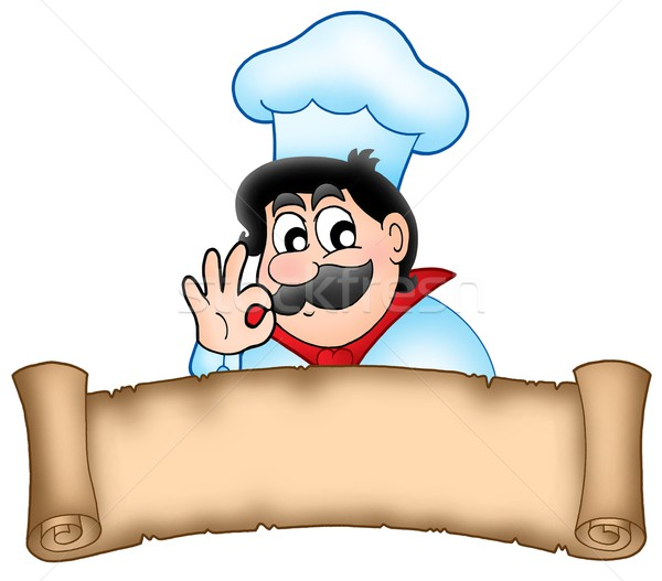 Banner with cartoon chef Stock photo © clairev