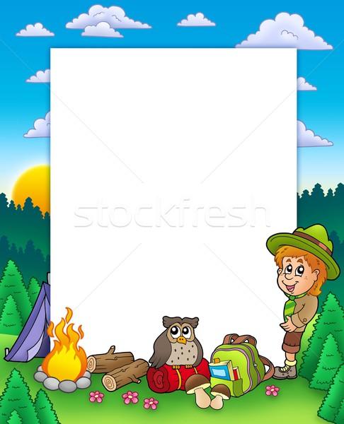 Zomer frame jongen verkenner kleur illustratie Stockfoto © clairev