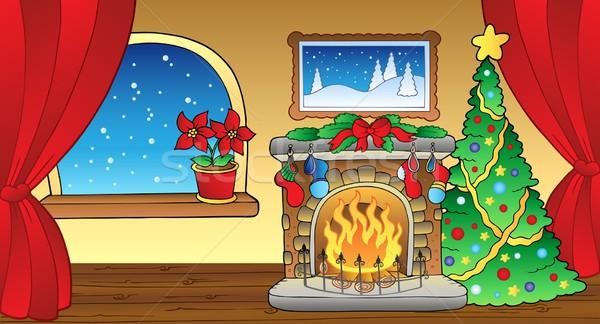 Karácsonyi üdvözlet kandalló ablak művészet szoba tél Stock fotó © clairev