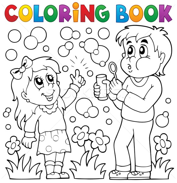 Coloring book children with bubble kit Stock photo © clairev