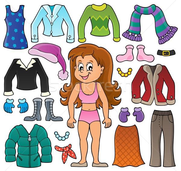 Stockfoto: Meisje · kleding · ingesteld · gelukkig · kind · kunst