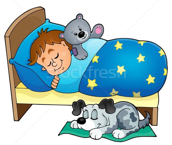 Alszik gyermek kép mosoly kutya otthon Stock fotó © clairev
