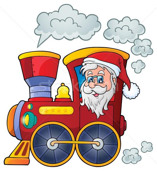 Natal locomotiva imagem cara pessoa desenho Foto stock © clairev