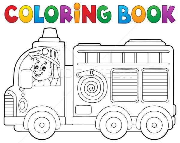 Coloring book fire truck theme 2 Stock photo © clairev