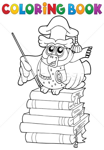 ストックフォト: 塗り絵の本 · フクロウ · 教師 · 図書 · 図書 · 芸術