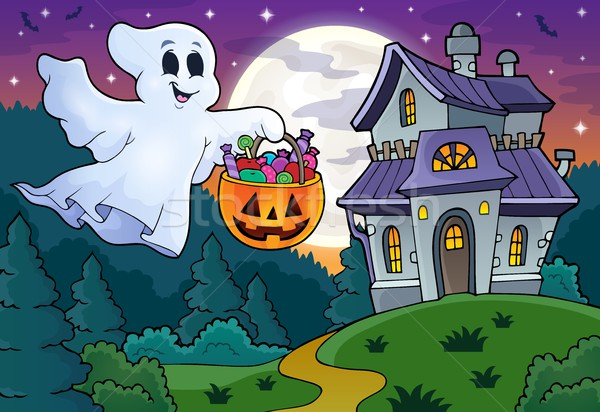 Halloween ghost near haunted house 1 Stock photo © clairev