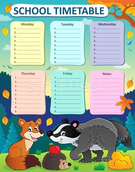 еженедельно школы расписание таблице листьев животные Сток-фото © clairev
