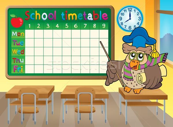 Schule Zeitplan Klassenzimmer Uhr Kunst Vogel Stock foto © clairev