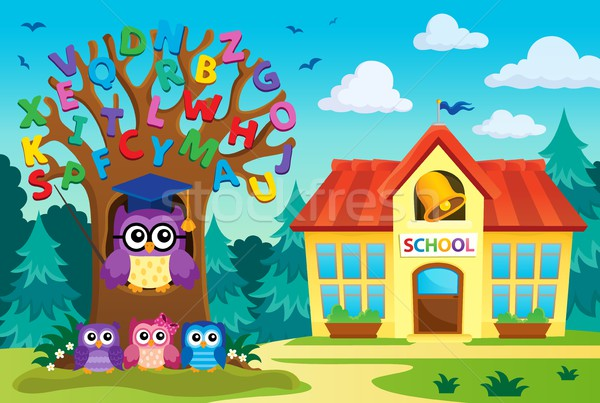 Tree with stylized school owl theme 7 Stock photo © clairev