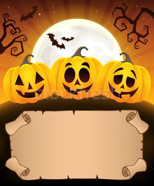 Küçük parşömen halloween kâğıt yüz Stok fotoğraf © clairev