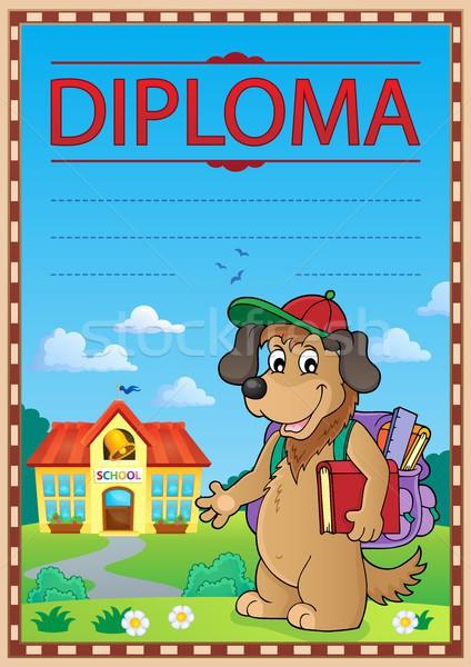 Diploma şablon görüntü köpek kitap okul Stok fotoğraf © clairev