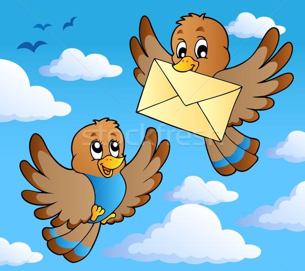 Vogel Bild glücklich Kunst Wolke Umschlag Stock foto © clairev