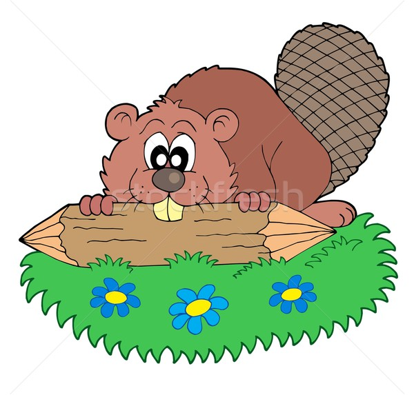 Beaver with log vector illustration Stock photo © clairev