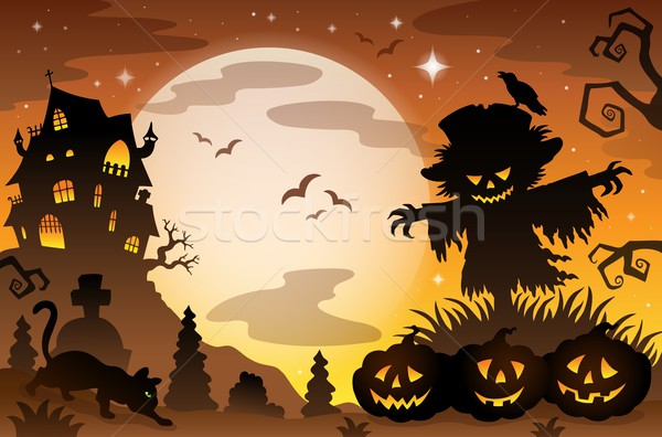Halloween konu sahne gökyüzü ay kuş Stok fotoğraf © clairev