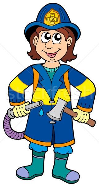 Bombero hacha seguridad de trabajo retrato ropa Foto stock © clairev