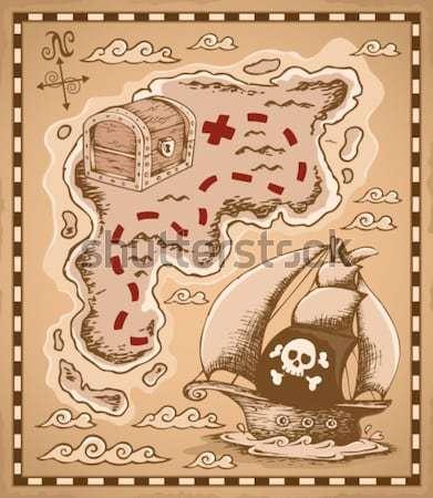 ストックフォト: 海賊 · 図面 · 羊皮紙 · 紙 · ツリー · 海