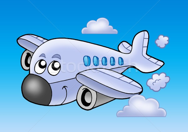 Cute battant avion couleur illustration sourire Photo stock © clairev