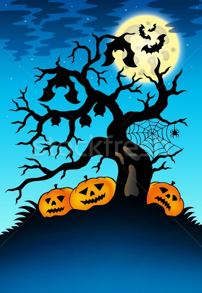Spooky tree with bats and pumpkins Stock photo © clairev