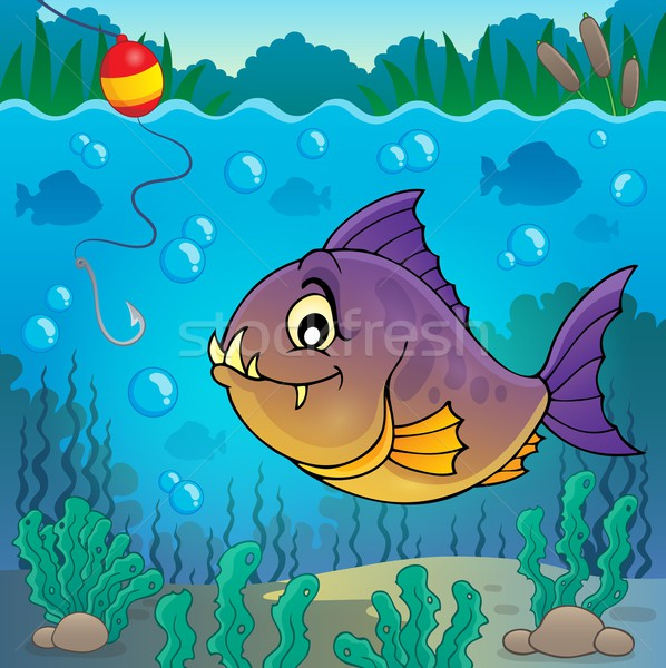 Piranha peixe subaquático natureza folhas pedra Foto stock © clairev