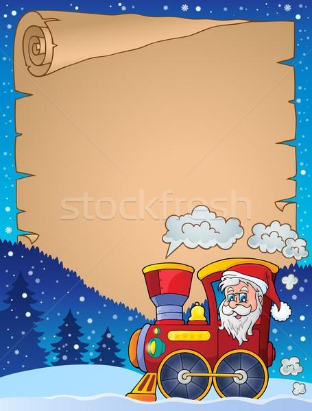 Pergamin christmas lokomotywa twarz śniegu osoby Zdjęcia stock © clairev