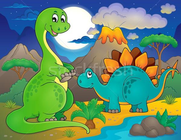 Night landscape with dinosaur theme 8 Stock photo © clairev
