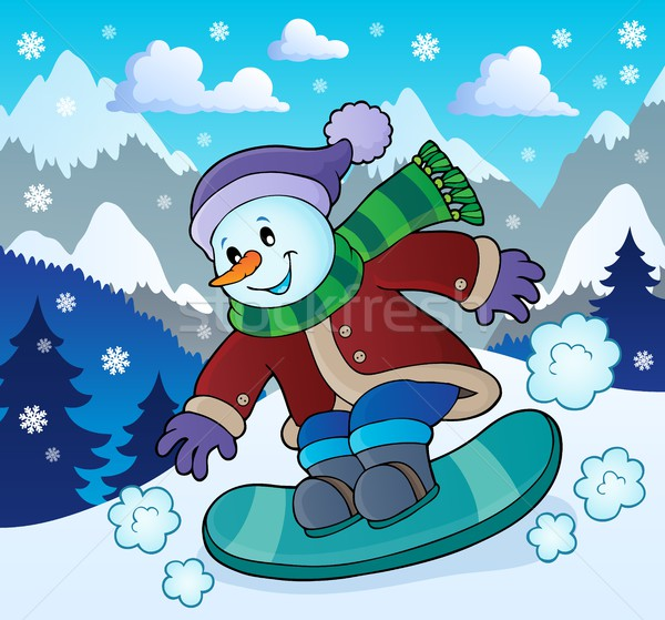 Snowman on snowboard theme image 2 Stock photo © clairev